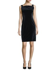 Evra+Square-Neck+Velvet+Dress+w/+Leather+Shoulder+Straps+by+Elie+Tahari+at+Neiman+Marcus.