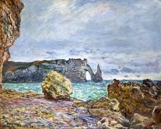 Claude Monet - Etretat, beach and Falaise d ' Aval