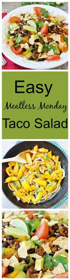 Easy Meatless Monday Taco Salad! This is so easy, spicy, healthy, and satisfying. Filled with beans, peppers, avocado, tomato, and Beyond Meat crumbles. #vegan #BeyondMeat #meatlessmonday