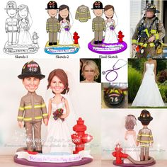Firefighter and Nurse Wedding Cake Toppers