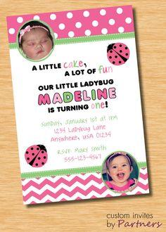 Ladybug Birthday Invitation by PartnersInvites on Etsy, $12.00