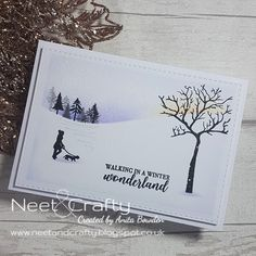 Hi there Back again with two very similar cards, and using more Card-io stamps that I just love for winter cards. This first card was ma. Stamped Christmas Cards, Simple Christmas Cards, Homemade Christmas Cards, Xmas Cards, Holiday Cards, Handmade Christmas, Christmas Trees, Greeting Cards, Cardio Cards