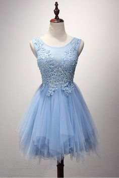 A-line Scoop Neck Tulle Short/Mini Pearl Detailing Homecoming Dresses PG124
