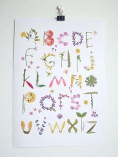 Herbarium Alphabet Flower Wall Art Poster/ by thevysherbarium
