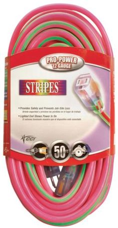 Cords Jacks and Plugs: Coleman Cable 02548-77 50 Pink And Green 12 3 Outdoor Extension Cord -> BUY IT NOW ONLY: $47.29 on eBay!