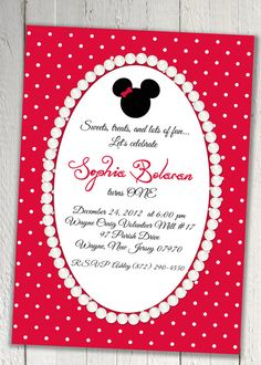Shabby Chic Minnie mouse Polka dot pearl frame, red and white printable invitation on Etsy, $18.00