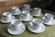 German Porcelain Cups and Saucers Art Deco Pattern by LazyYVintage