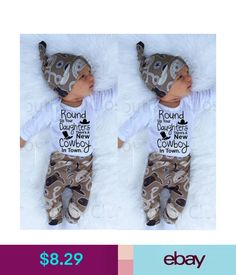 4e1274f26 Newborn Infant Baby Girl Boy Romper+Cowboy Long Pants Hat 3Pcs Outfit Set  Clothe  ebay  Fashion