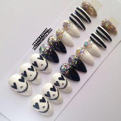 Skull & glitter stiletto nails, Nail designs, Nail art, Nails, Stiletto nails, Acrylic nails, Pointy nails, Fake nails, False nails by prettylittlepolish on Etsy https://www.etsy.com/listing/228760166/skull-glitter-stiletto-nails-nail