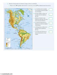 Relieve de América ficha interactiva y descargable. Puedes hacer los ejercicios online o descargar la ficha como pdf. Worksheets, World, Table, Maps, Socialism, Geography Classroom, Teaching Geography, Geography Activities, Map Of America