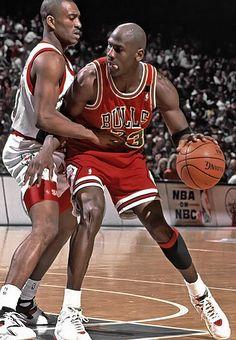 Michael Jordan and Hersey Hawkins (Philadelphia 76ers)