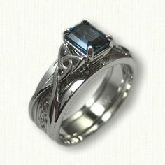 14kt White Gold Vanessa Reverse Cradle set with an 8 x 6 mm London Blue Topaz - Celtic Glasgow Knot Inner Band