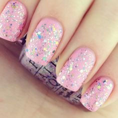 Nails Ideas Pink Sparkle Ideas For 2019 Holiday Nail Colors, Holiday Nail Designs, Classy Nail Designs, Pink Nail Designs, Cool Nail Designs, Holiday Nails, Nails Design, Love Nails, Pink Nails