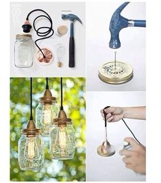 Make your own hanging lights with mason jars Mason Jar Crafts, Mason Jar Lamp, Bottle Crafts, Mason Jar Chandelier, Decor Crafts, Diy Home Decor, Mason Jar Lighting, Diy Mason Jar Lights, Rustic Lighting