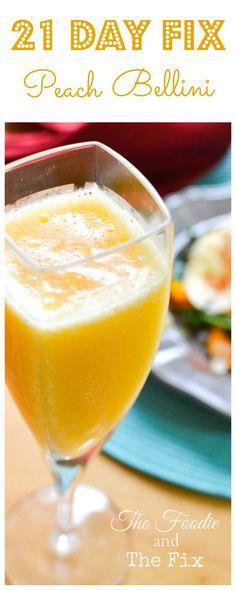 2-Ingredient Peach Bellini! 21 Day Fix: 1/2 PURPLE, 1 YELLOW TREAT SWAP