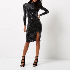 Metallic jersey Bodycon fit Turtleneck Long sleeve  Open back with loop button fastenings Midi length with thigh split