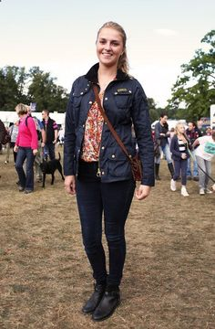 We spotted Izzy at Burghley Horse Trials sporting a Barbour International Wax Jacket. Doesn't she look great?