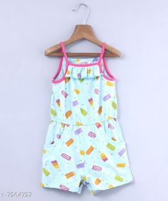 Checkout this latest Dungarees & Jumpsuits Product Name: *Beebay Girls Lick Lollies Print Jumpsuit (Light Blue)* Fabric: Cotton Sleeve Length: Sleeveless Pattern: Printed Multipack: 1 Sizes:  0-3 Months (Bust Size: 19 in, Length Size: 2 in, Waist Size: 17 in)  3-6 Months (Bust Size: 19 in, Length Size: 2 in, Waist Size: 17 in)  12-18 Months (Bust Size: 21 in, Length Size: 2 in, Waist Size: 20 in)  2-3 Years (Bust Size: 22 in, Length Size: 3 in, Waist Size: 21 in)  5-6 Years (Bust Size: 23 in, Length Size: 3 in, Waist Size: 22 in)  6-7 Years (Bust Size: 24 in, Length Size: 4 in, Waist Size: 23 in)  Country of Origin: India Easy Returns Available In Case Of Any Issue   Catalog Rating: ★4 (220)  Catalog Name: Cute Trendy Kids Girls Dungarees & Jumpsuits CatalogID_1161529 C62-SC1156 Code: 855-7264727-9111