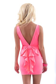 Hide and Bow Chic Dress-Neon Pink - Dresses