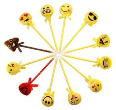 Assorted Emoji Pens Smiley Plush Pen Pack (12 Pieces)