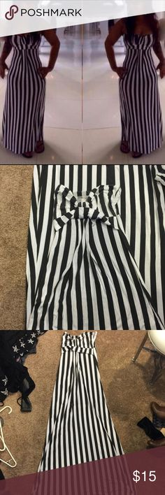 STRIPED MAXI DRESS As shown. Worn twice. No holes or marks. Maxi dress. Stretches. Size fits womans 12 Dresses Maxi