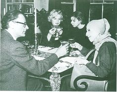 """journalofanobody:    Arthur Miller, Marilyn Monroe, Carson McCullers, and Karen Blixen  """"Maybe all one can do is hope to end up with the right regrets.""""―Arthur Miller"""