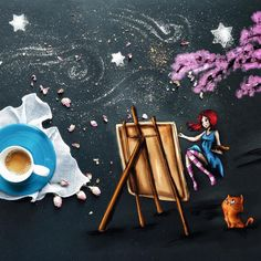 For me, peculiar is flying away while my imagination flows through the brush, creating new worlds Coffee Heart, Coffee Is Life, I Love Coffee, Happy Coffee, Coffee Lovers, Art Cafe, Coffee Illustration, Coffee Dessert, Coffee Photography