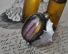 """Black Bat Ring - """"Dusk"""", Size 7.25"""