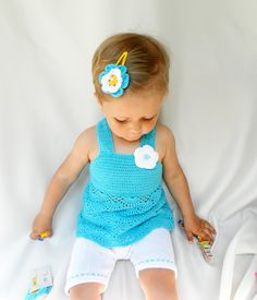 Crocheted / knitted baby set of two parts-tunic and shorts of blue and white , summer set,  girls fashion, READY TO SHIP on Etsy, $739.25