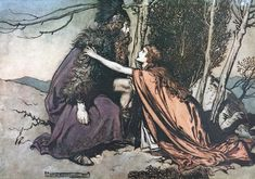 """Father! Father! / Tell me what ails thee? / With dismay thou art filling thy child"" (1910), lithograph by Arthur Rackham (1867-1939) [published in The Rhinegold & The Valkyrie, facing page 112], from Act 2, Scene 2, of Die Walküre (1856), by Richard Wagner (1813-1883)."
