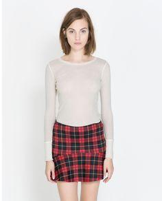 Zara Tshirt with Edging Detail in Beige (Ecru) | Lyst