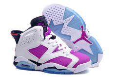 "Ladies Nike Shoes AJ 6 Retro ""Bright Grape"" Women Jordans in Color Vivid Pink Black and White"