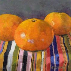 'Honey Tangerines II' by American painter Jennifer Bellinger. Oil on panel, 6 x 6 in. via the artist's site Food Art Painting, Fruit Painting, Painting & Drawing, Painting Still Life, Paintings I Love, Beautiful Paintings, Still Life Fruit, Art Gallery, Fruit Art