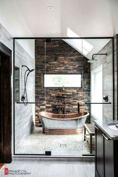 Shower and bath within a wet room