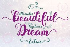 The Beautiful Dream is an elegant font designed for the creative spirits out there! It was inspired by the quotes. Handwritten Fonts, All Fonts, Typography Letters, Hand Lettering, Create Quotes, Cricut Fonts, Beautiful Dream, Christmas Svg, Web Banner