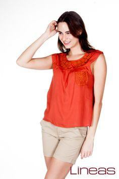 Blusa Modelo 18402 Precio $200 MXN Colores: Hueso, Shedron y Verde #Lineas #outfit #moda #tendencias #2014 #ropa #prendas #estilo #moda #primavera #blusa