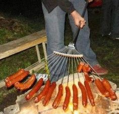 I am ROFL, but what a great idea.  Just make sure you don't grab the one you used to rake out the horse compartment!!!     Use a new metal rake to cook hot dogs for a crowd…