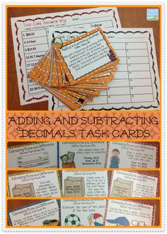 Adding and Subtracting Decimals Task Cards$