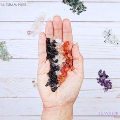 Black Tourmaline, Carnelian and Clear Quartz Crystal Chips Bagged Set, 14 grams each