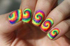 Neon Tie Dye Nail Art Tutorial by knailart Neon Tie Dye Nail Art Tutorial by knailart Neon Nail Art, Neon Nails, Cute Nail Art, Diy Nails, Cute Nails, Pretty Nails, Nail Deaigns, Batik Shirt, Tie Dye Nails