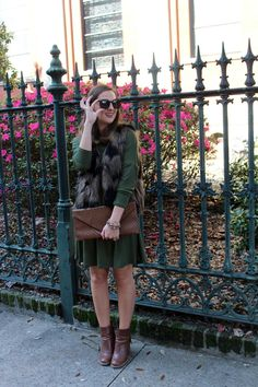 Faux Fur vest and swing dress via With Style and a Little Grace