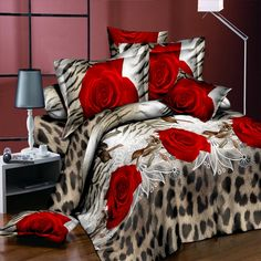Home Textiles Bedding Sets Cotton Leopard Grain Rose Panther Queen 4 Pcs Duvet Cover Bed Sheet Pillowcase Bedclothes