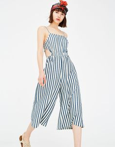 Combinaison jupe-culotte rayures fendue - Salopettes - Vêtements - Femme - PULL&BEAR France