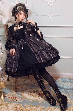 NyaNya Lolita -Carol of the Nightingale- Lolita OP Dress Lucky Pack,Lolita Dresses, Harajuku Fashion, Kawaii Fashion, Big Fashion, Fashion Tips, Ladies Fashion, Fashion Ideas, Fashion Trends, Gothic Lolita Fashion, Lolita Style