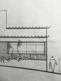 Vista frontal da casa a ser reformada. Esse desenho foi feito na década de 70!