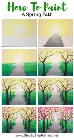 How to paint a spring tree path - painting step by step How to paint a spring tr. - How to paint a spring tree path – painting step by step How to paint a spring tree path – paint - Easy Canvas Painting, Simple Acrylic Paintings, Acrylic Canvas, Diy Painting, Painting & Drawing, Spring Painting, Decorative Paintings, Drawing Tips, Creative Painting Ideas