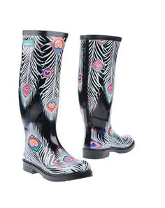 a7280de70 Matthew williamson for havaianas black peacock feather print rubber boots