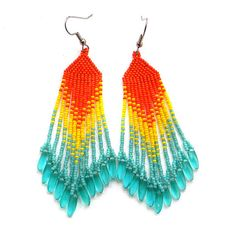 Colorful fringe earrings  beadwork jewelry  seed by Anabel27shop