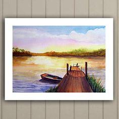 Sunset lake scene, peaceful mood of rowboat on lake, large fine art original painting, Free Shipping