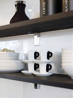 dark wood open shelving